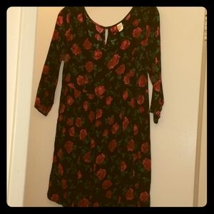 Red roses baby doll dress
